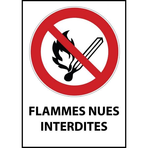 """Panneau d'Interdiction """"Flammes nues interdites"""" Vinyle souple A5"""