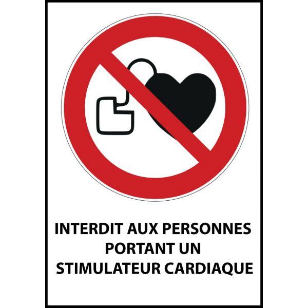 """Panneau d'Interdiction """"Interdit aux personnes portant un stimulateur cardiaque"""" Vinyle souple A5"""