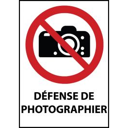 "Panneau d'Interdiction ""Interdiction de photographier"" Vinyle souple A5"