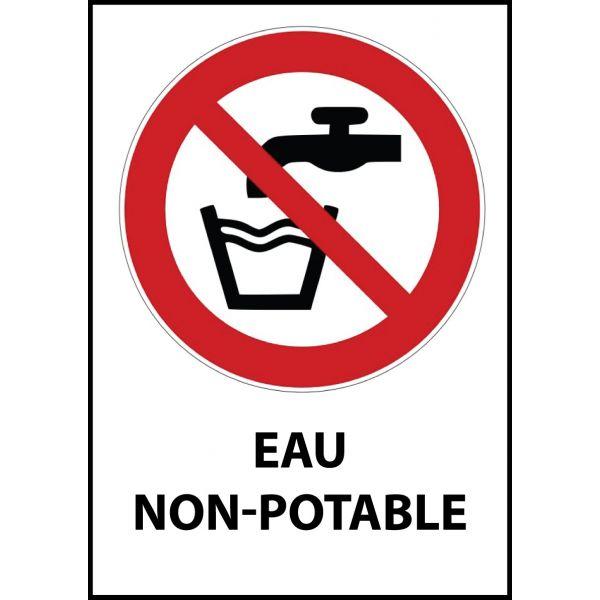 """Panneau d'Interdiction """"Eau non-potable"""" Vinyle souple A5"""