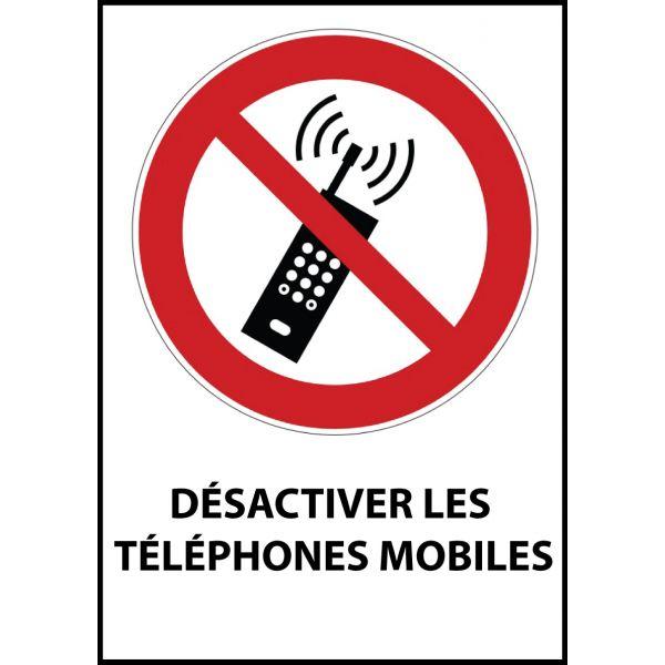 """Panneau d'Interdiction """"Interdiction d'activer des téléphones mobiles"""" Vinyle souple A5"""