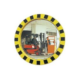 Miroir de sécurité Jaune et noir - Diam 600 mm - Polymir