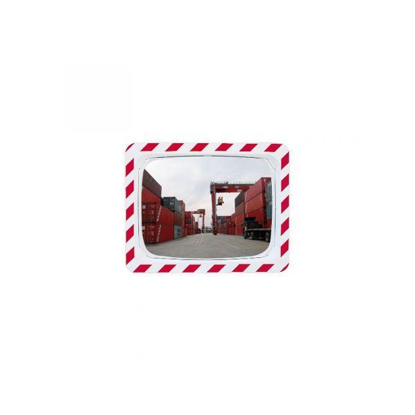 Miroir de sécurité rouge et blanc rectangulaire 600 x 400 mm - Polymir