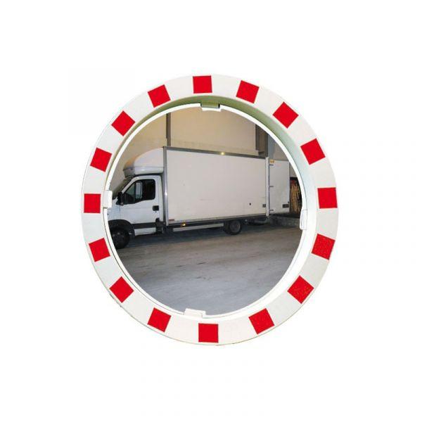 Miroir de sécurité rouge et blanc - Diam 600 ou 800 mm - Polymir