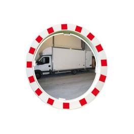Miroir de sécurité rouge et blanc - Diam 600 ou 800 mm - P.A.S