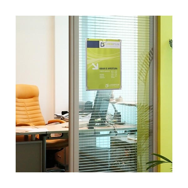 Porte document mural plat transparent a4 vertical for Posters portes interieures