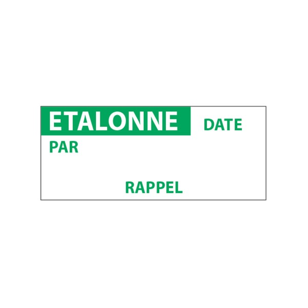 """Lot étiquettes d'inspection """"Etallonné par"""" tissu plastifié"""