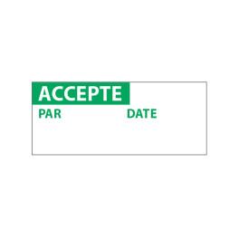 """Lot étiquettes d'inspection """"Accepté"""" tissu plastifié"""