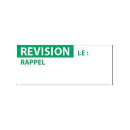 """Lot étiquettes d'inspection """"Revision"""" tissu plastifié"""
