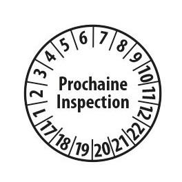 """Pastille blanche à texte """"Prochaine inspection"""" - 4 matériaux"""