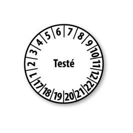 """Pastille blanche à texte """"Testé"""" - 4 matériaux"""