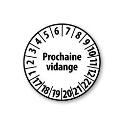"""Pastille blanche à texte """"Prochaine vidange"""" - 4 matériaux"""