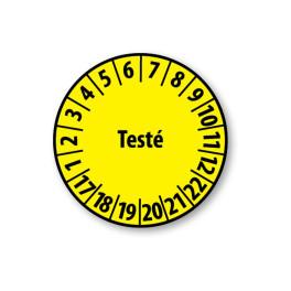 """Pastille colorée à texte """"Testé"""" - 4 matériaux"""