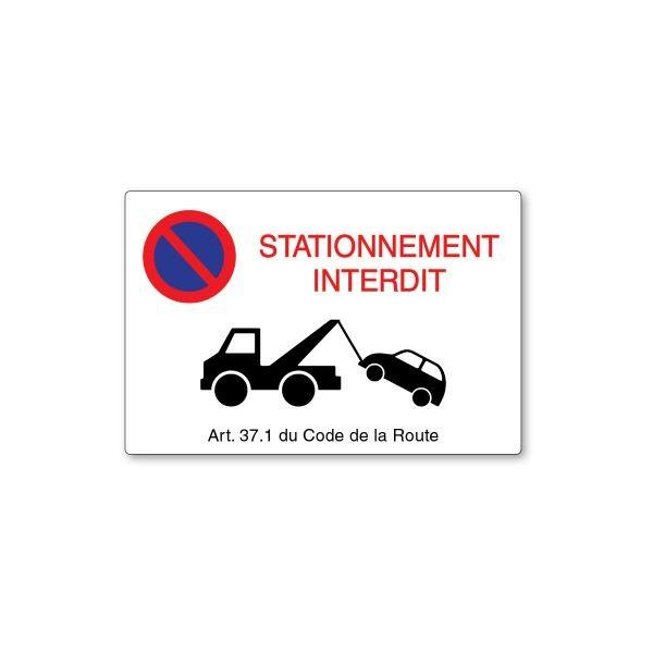 Panneau de circulation Plat Rectangle PVC - Defense de stationner