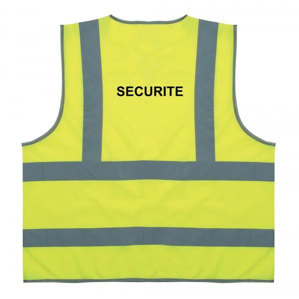 """Sur mesure - Gilet de sécurité jaune à 4 bandes """"Sécurité"""""""