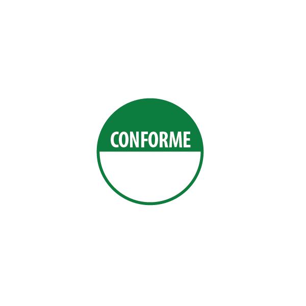 """Pastilles repositonnables vertes """"Conforme"""" avec zone de texte"""