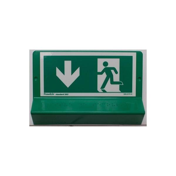 """Signalétique braille Issue de secours"""" - Flèches haut, droite ou gauche"""