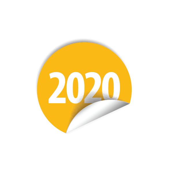 """Pastille inventaire jaune avec l'inscription """"2020"""" pour indiquer l'année lors de vos inventaires"""