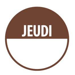 """Pastilles """"JEUDI"""" + Zone de Texte"""