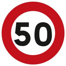 Panneau d'Interdiction B14 : Vitesse Limitée à 50 km/h