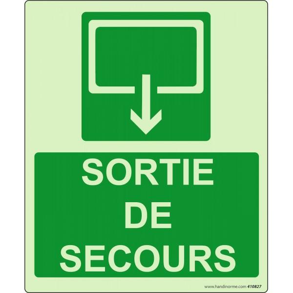"""Panneau Sécurité """"Sortie de secours"""" rectangle 300 *250 mm Photoluminescent"""