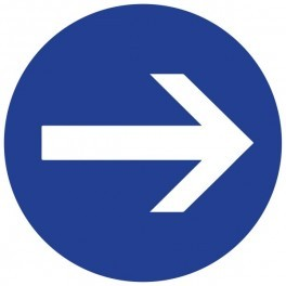 Panneau de Prescription B21.1 : Obligatoire de tourner à Droite avant le Panneau