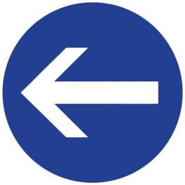 Panneau de Prescription B21.2 : Obligatoire de tourner à Gauche avant le Panneau