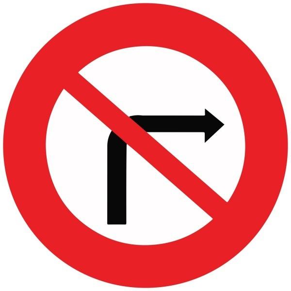 Panneau de Prescription B2b : Interdiction de tourner à droite à la prochaine intersection