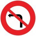 Panneau de Prescription B2a : Interdiction de tourner à gauche à la prochaine intersection