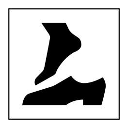 Pictogramme d'Information ISO 7001 Retirer ses chaussures en Vinyle souple autocollant 125 x 125 mm Noir sur Blanc