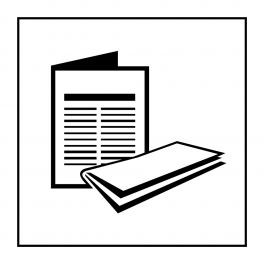 Pictogramme d'Information ISO 7001 Kiosque à journaux en Vinyle souple autocollant 125 x 125 mm Noir sur Blanc