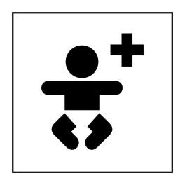 Pictogramme d'Information ISO 7001 Centre médical pour enfants en Vinyle souple autocollant 125 x 125 mm Noir sur Blanc