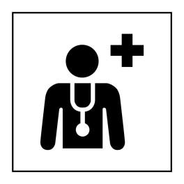 Pictogramme d'Information ISO 7001 Centre médical ou médecin en Vinyle souple autocollant 125 x 125 mm Noir sur Blanc