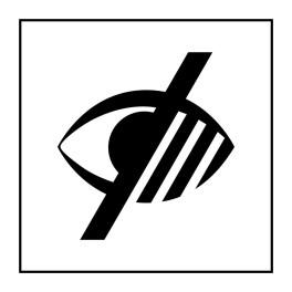 Pictogramme d'Information ISO 7001 Accessibilité, malvoyant en Vinyle souple autocollant 125 x 125 mm Noir sur Blanc