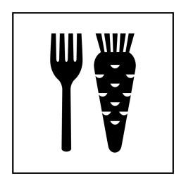 Pictogramme d'Information ISO 7001 Nourriture végétarienne en Vinyle souple autocollant 125 x 125 mm Noir sur Blanc