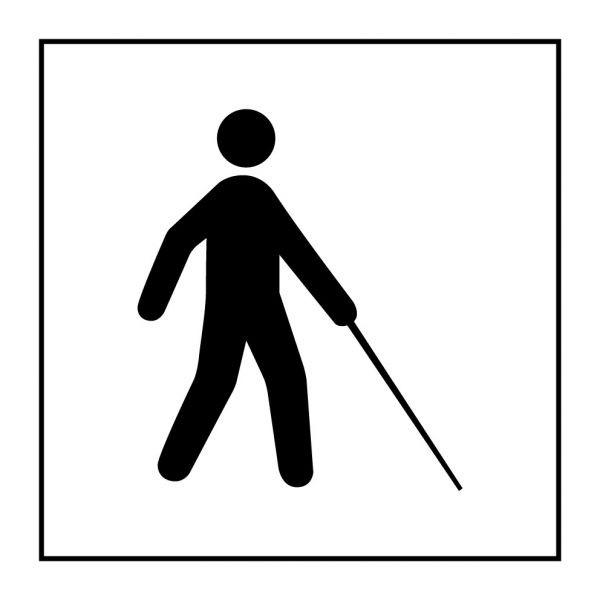Pictogramme d'Information ISO 7001 Accessibilité, malvoyant ou aveugle en Vinyle souple autocollant 125 x 125 mm Noir sur Blanc