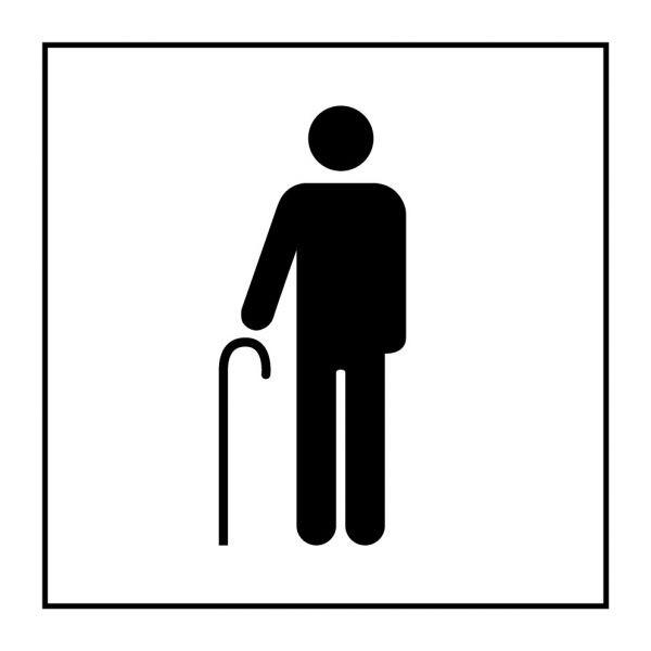 Pictogramme d'Information ISO 7001 Accès prioritaire aux personnes âgées en Vinyle souple autocollant 125 x 125 mm Noir sur Blan