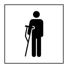 Pictogramme d'Information ISO 7001 Accès prioritaire aux personnes blessées en Vinyle souple autocollant 125 x 125 mm Noir sur B