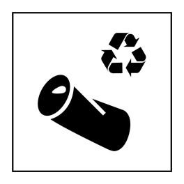Pictogramme d'Information ISO 7001 Recyclage - canette en Vinyle souple autocollant 125 x 125 mm Noir sur Blanc