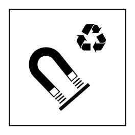 Pictogramme d'Information ISO 7001 Recyclage - acier magnétique en Vinyle souple autocollant 125 x 125 mm Noir sur Blanc
