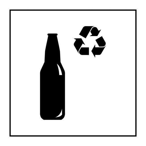 Pictogramme d'Information ISO 7001 Recyclage - verre en Vinyle souple autocollant 125 x 125 mm Noir sur Blanc