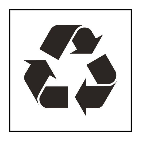 Pictogramme d'Information ISO 7001 Poubelle ou container de recyclage en Vinyle souple autocollant 125 x 125 mm Noir sur Blanc