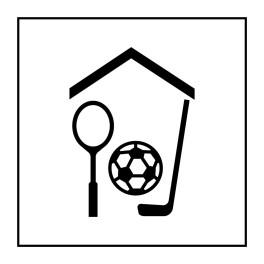 Pictogramme d'Information ISO 7001 Gymnase/salle de sport en Vinyle souple autocollant 125 x 125 mm Noir sur Blanc