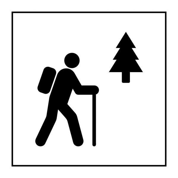 Pictogramme d'Information ISO 7001 Sentier de randonnée pédestre en Vinyle souple autocollant 125 x 125 mm Noir sur Blanc