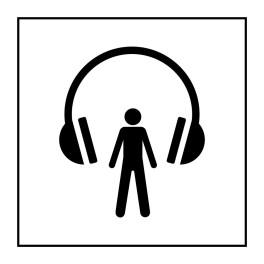 Pictogramme d'Information ISO 7001 Audioguide en Vinyle souple autocollant 125 x 125 mm Noir sur Blanc