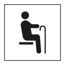 Pictogramme d'Information ISO 7001 Siège prioritaire pour personnes âgées en Vinyle souple autocollant 125 x 125 mm Noir sur Bla
