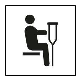 Pictogramme d'Information ISO 7001 Siège prioritaire pour personnes blessées en Vinyle souple autocollant 125 x 125 mm Noir sur