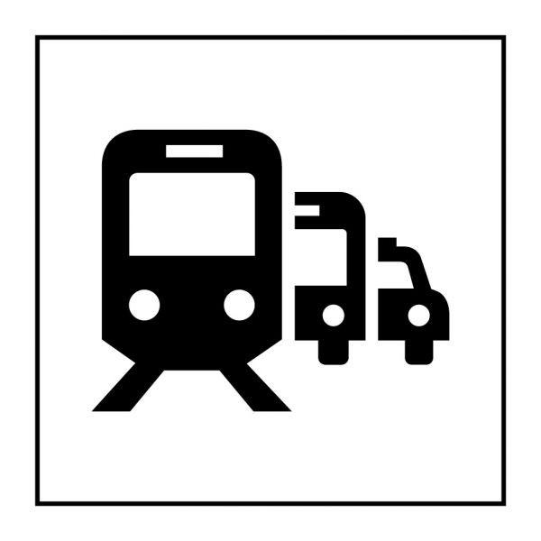Pictogramme d'Information ISO 7001 Pôle de correspondance ou gare routière en Vinyle souple autocollant 125 x 125 mm Noir sur Bl