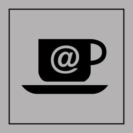 Pictogramme d'Information ISO 7001 Cybercafé en Gravoply 125 x 125 mm Noir sur Blanc