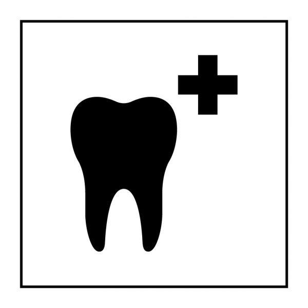 Pictogramme d'Information ISO 7001 Soins dentaires en Gravoply 125 x 125 mm Noir sur Blanc